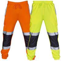 черный плюс размер дизайнеры оптовых-Новая мода повседневная мужчины брюки лоскутное серебро светоотражающие мода черный оранжевый дизайнер брюки плюс размер S-3XL