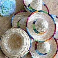 mexikanische partyhüte groihandel-3 Crazy Nights Natürliche Straw Mini Hüte / New Design Mini Mexican Hat Desktop Party Supplies Karneval-Geburtstags-Party-Dekorationen