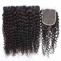 Wholesale color curly hair closure for sale - Group buy KISSHAIR jerry culry hair bundles with closure natural color Indian human hair bundle Brazilian Peruvian curly hair weft