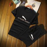 leopar eşofman erkek toptan satış-Leopar Desenli İki parçalı TshirtsShorts Suits Araç Marka Erkek Spor Track Suit M-4XL ile Erkekler için Yaz Tasarımcı eşofman