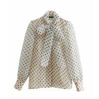 organza shirts großhandel-Frauen Süße Tupfen Druck Casual Organza Blusen Shirt Frauen Langarm Bogen Gebunden Kittel Blusas Femininas Chemise Ls3209