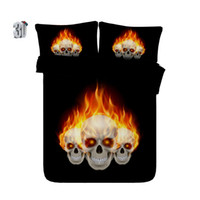 Wholesale skulls bedding resale online - 150x200CM Cool Skull Fire Duvet Cover Set Pieces Polyester Cotton Skeleton Decorative Bedding Collection TC Nightmare Before Christmas
