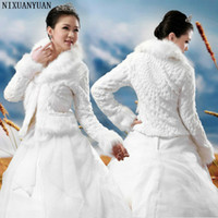 Wholesale accessories wedding winter fur resale online - Wedding Accessories High Quality Faux Fur Bolero Long Sleeves Ivory Wedding Jackets Winter Warm Coats Bride Wedding