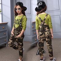 Wholesale spring clothes for teens resale online - 6 Years Children Jumpsuit Casual Pants Spring Autumn Clothing Girls Camouflage Overalls For Kids Teen Girl Jumpsuit Y200704