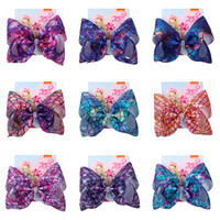 Wholesale mermaid bows for sale - Group buy 8inch Mermaid jojo siwa bows baby hair bows designer large Girls Hair Clips kids Hairclips Childrens Barrettes Hair Accessories A2985