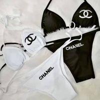 traje de baño bikini de encaje negro al por mayor-Mujeres de la marca del bikini del traje de baño atractivo del diseñador Letters Trajes ata para arriba el traje de baño acolchada baño de dos piezas de la ropa interior Negro traje de baño blanco
