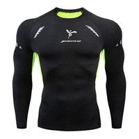 Wholesale tight gym shirts men resale online - Fashion Lead men compression tshirts fitness Bodybuilding Sportswear T shirt Long Sleeve Top Gyms running T Shirt Men Fitness Tights