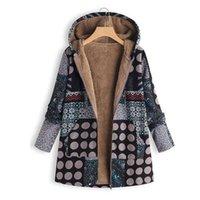 chauffe-poche vintage achat en gros de-WENYUJH nouvellement arrivée concise style Femmes Hiver Chaud Outwear Floral Imprimer Hooded Pochettes Vintage Surdimensionné Manteaux
