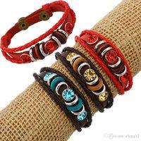 einstellbares paar armband großhandel-Retro Seil verstellbare Leder Männer Paar Perlen Armbänder Seil Hand gewebt Armband für Frauen geflochtenen Schmuck 161988