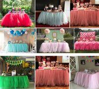 dantel düğün masa örtüleri toptan satış-Tül Tutu Masa Etek 38 Renkler Düğün Doğum Günü Partisi Sign-in Booth Dantel Masa Örtüsü DIY Zanaat Ev Tekstili Süslemeleri Ücretsiz nakliye