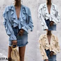 şifon gevşek bluzlar toptan satış-Kadınlar Bayanlar Şifon Fırfır Çan Kol Gevşek T Gömlek Üst Yaz Bluz Tops