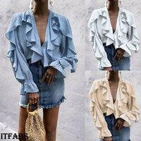 chiffon blusas soltas venda por atacado-Mulheres senhoras Chiffon Ruffle Bell manga solta camiseta Top Blusa de verão Tops