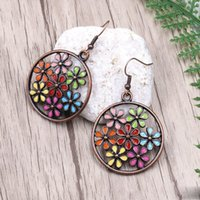 Wholesale vintage sunflowers for sale - Group buy Vintage Multicolor Sunflower Large Round Pendant Earring Antique Bronze Hollow Out Flower Ear hook Charming Eardrop Women Fashion Jewelry