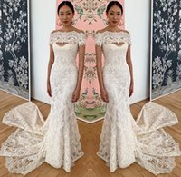Wholesale sexy short mermaid wedding dresses for sale - Group buy Romantic Full Lace Mermaid Wedding Dresses Sexy Bateau Neckline Appliques Sweep Train Bride Wedding Gowns Custom Made