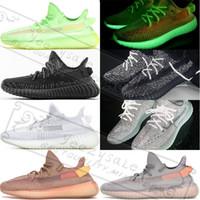 kanye west black оптовых-Gid Glow True Form Kanye West 3M Черный Светоотражающий Статический глина Крем-зебра Белый Beluga 2.0 Кроссовки Bred Дизайнерские кроссовки 5-13