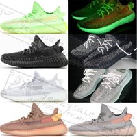 ingrosso k tedesco-Adidas Yeezy Boost 350 V2 Gid Glow True Form Kanye West 3M Nero argilla riflettente statica Zebra Cream Bianco Beluga 2.0 Bred Running Shoes Sneakers firmata 5-13