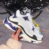 yüksek tabanlar ayakkabı mens toptan satış-2019 Çok Lüks Üçlü S Tasarımcı Düşük Eski Baba Sneaker Kombinasyonu Tabanı Tabanı Çizmeler Bayan Bayan Moda Rahat Ayakkabılar Yüksek En Kaliteli Boyutu 36-45