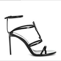 designers de roupas de casamento sexy venda por atacado-2019 top quality designer de luxo de couro de patente stiletto stiletto sandálias do alfabeto das mulheres originais vestido de noiva sapatos sexy sapato caixa 05