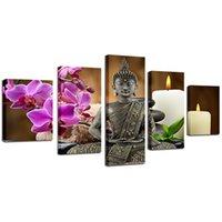 pinturas de buda para sala de estar venda por atacado-Lona Sem Moldura HD Imprime Fotos Home Decor 5 Peças Buddha Zen Pinturas Orquídea de Traça Vela Cartazes Para Sala de estar Arte Da Parede