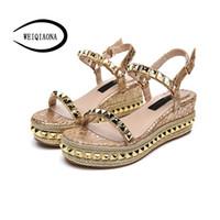 topuklu sandalet toptan satış-WEIQIAONA Yaz Yüksek Topuklu Yuvarlak Kafa Çivili kadın Sandalet Takozlar bayan Ayakkabıları Roma