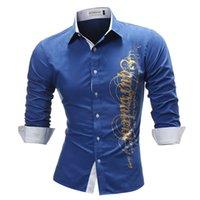 mektup baskısı artı boyutu elbise toptan satış-Marka 2018 Moda Erkek Gömlek Uzun kollu Üstleri Mektup Baskı Erkek Gömlekler Ince Erkek Gömlek Artı Boyutu 4xl Y190506