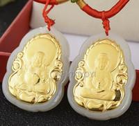 ingrosso collana fortunata del pendente della giada del buddha-Natural White Heian Jade + 18 K Solid Gold Buddha cinese GuanYin Amulet Pendente fortunato + Collana libera Gioielli raffinati + Certificato