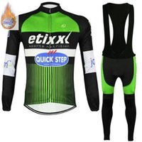 Wholesale thermal fleece cycling jersey pants for sale - Group buy Winter Quick Step Team winter Fleece Ropa Ciclismo long sleeve Cycling jersey bib Pants Set winter thermal fleece cycling clothing
