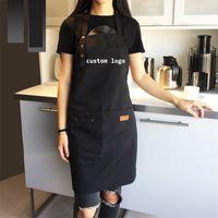 Wholesale aprons pockets for women resale online - Women Men Adjustable Canvas apron for kitchen cooking Baking aprons with pockets bib coffee shop work Uniform smocks custom