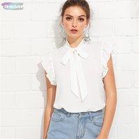 saçmalamak bluzlar toptan satış-Beyaz Bluz Kıyafetleri flounce Omuz Boyunluk fırfır Zarif Yaz Kadın Kolsuz Hafta Sonu Casual Gömlek Top Standı Bağlı