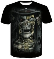 t рубашки разных стилей оптовых-Топ различных цветов стили шею 3D цифровой череп печати футболка мужская с коротким рукавом повседневная свободные печатные футболки мужская одежда одежда