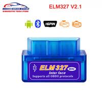 mini protocolo al por mayor-Mejor Súper Mini ELM327 Bluetooth V2.1 OBD 2 Herramienta de Diagnóstico del Coche ELM 327 2.1 obd2 Lector de Código Para Android Protocolos OBDII