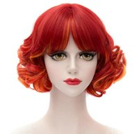 perucas laranja encaracolado venda por atacado-Free shippingnew quente moda anime puro bangs cabelo encaracolado curto orange tangerine peruca cosplay vermelho