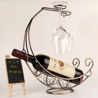 estante de copas de vino colgando al por mayor-OnnPnnQ Creative Fashion Metal Wine Rack Hanging Wine Glass Holder Pirate Ship Shape Bar Wine Holder 3 colores Venta caliente