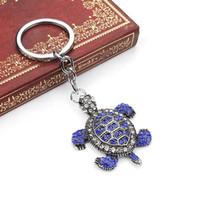 tartarugas de metal venda por atacado-Saco de Bagagem Chave Pingente de Jóias New Blue Metal Chaveiro Turtle Chaveiro Presente Inlay Rhinestone Chaveiro Pingente Chave Anéis