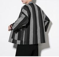 ingrosso giacche fu-Moda Kimono cinese Cardigan Uomo Costume Cotone Lino Kimono Cardigan Uomo Kung Fu Kimono Giacca Uomo Han Abbigliamento Plus Size Spedizione gratuita