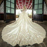 Wholesale plus size wedding dresses for sale - Group buy Luxury Arabic Dubai Wedding Dresses Sheer Neck Long Sleeve Cathedral Train Crystal Beads Chapel Bridal Gowns vestidos de novia Plus Size