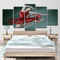 tanz wand leinwand großhandel-HD Gedruckt Tanz der Roten Rock Mädchen 5 Stück Leinwand Kunst Bild Malerei Wandkunst Raumdekor Poster Leinwand Freies Verschiffen