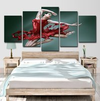 Wholesale oil painting dancing girl resale online - HD Printed Dance of The Red Skirt Girl Piece Canvas Art Picture Painting Wall Art Room Decor Poster Canvas