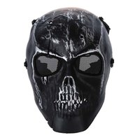 máscara de caveira de paintball preto venda por atacado-Exército Crânio Esqueleto Paintball BB Gun Full Face Jogo Protect Safe Mask - Silver Black