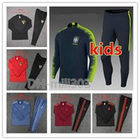 vêtements de sport pour garçons achat en gros de-Survêtement de football 2019 Brésil Survetement 19/20 club enfants Sao Paulo Flamengo garçon costume de football formation jogging sport