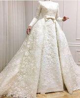 perlen bescheidene moslemische brautkleider großhandel-Modest Muslim Brautkleider 2019 Lange Ärmel Spitze Applizierte Perlen Brautkleider mit Überrock Brautkleider