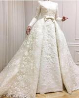 vestidos de casamento muçulmanos modestos frisados venda por atacado-Modest Vestidos de Casamento Muçulmano 2019 Mangas Compridas Lace Appliqued Frisado Vestidos de Noiva com Vestidos de Casamento Overskirts