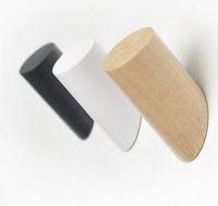 llaves decorativas ganchos al por mayor-Natural ropa de madera Percha montado en la pared Misceláneas del sombrero de la bufanda del bolso del gancho del sostenedor del estante de almacenamiento de baño Clave decorativo