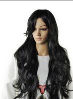 peluca negra ondulada flequillo al por mayor-Envío GRANDE Pelucas de pelucas llenas de pelucas de pelo largo y negro ondulado oblicuo, con oblicuo, para mujer sexy.