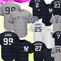 sanchez forması toptan satış-New York Erkek Yankees 99 Aaron Hakim Giancarlo Stanton Gleyber Torres Jersey 24 Gary Sanchez Babe Ruth Mickey Mantle Beyzbol Formalar