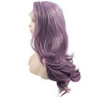 длинный волнистый фиолетовый парик оптовых-Hair Care Wig Stands Women's Fashion Wig Purple Long Wavy Curly Hair 26 inchs Wigs Adjustable Monofilament Net Wig+Cap New Feb19
