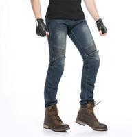 saha pantolonları toptan satış-Sıcak satış Yeni Yıldız Alan Şövalye Motosiklet sürme kot motosiklet binici pantolon koruma erkek pantolon koruma var