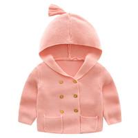 tığ işi hırka toptan satış-Sevimli Tığ Bebek Kazak Çevrimiçi Hırka Kazak Tasarım Bebek Kruvaze Kapüşonlu Hırka Ceket 5 renk için seçin için 18070701 DHL Ücretsiz