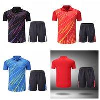 masa tenisi mayo gömlekleri toptan satış-Yeni Takımı masa tenisi Erkekler Gömlek kısa kollu t-shirt Spor Formalar Badminton Jersey mujer şort takım elbise seti giysi