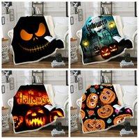 xaile estampado cartoon venda por atacado-Halloween Sherpa Blanket 150 * 130 centímetros abóbora Fantasma 3D Impresso do inverno dos miúdos dos desenhos animados Plush Xaile Couch sofá jogar velo Enrole LJJA3256-13